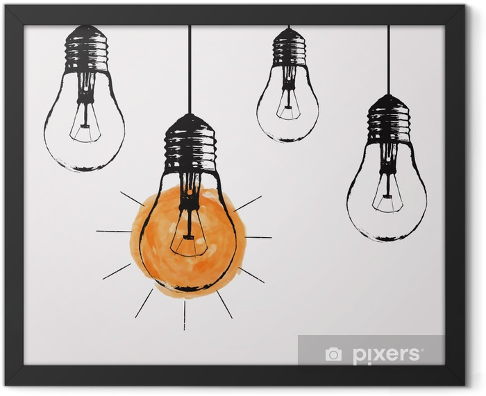 Vector grunge illustration with hanging light bulbs and place for text. Modern hipster sketch style. Unique idea and creative thinking concept. Framed Poster - States of Mind