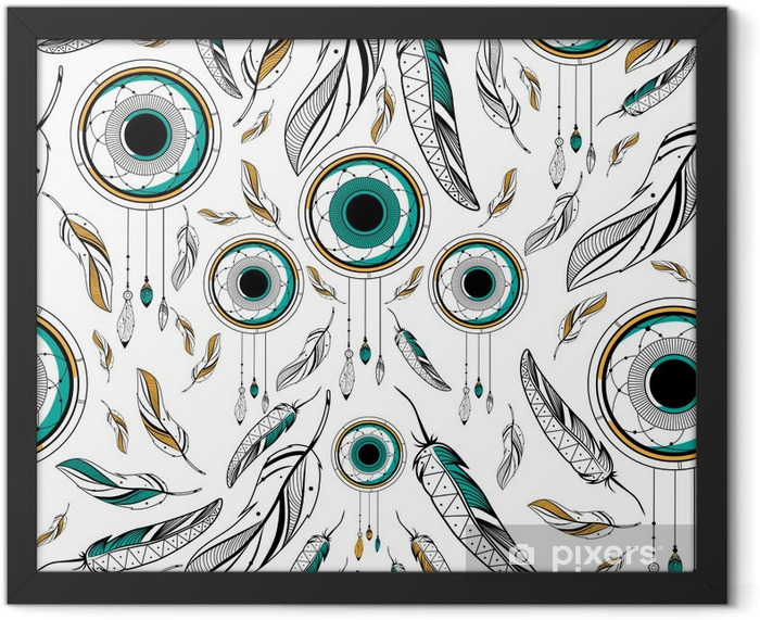 Plakat w ramie Dream Catcher w plemiennej stylu boho szwu wzór - Zasoby graficzne