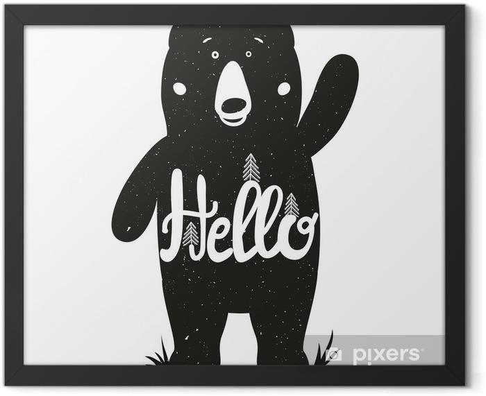 Plakat w ramie Zabawna ilustracji wektorowych z cute Niedźwiedź i oznaczeniem słowem - cześć. - Zwierzęta