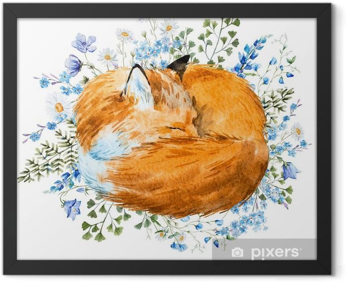 Plakat w ramie Akwarela spania fox - Zwierzęta