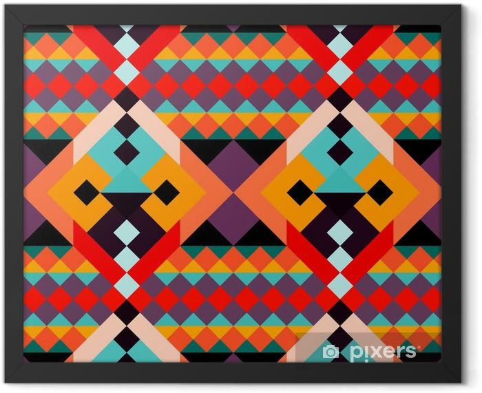 Plakat w ramie Kolorowe wielokąty geometryczne szwu - Zasoby graficzne