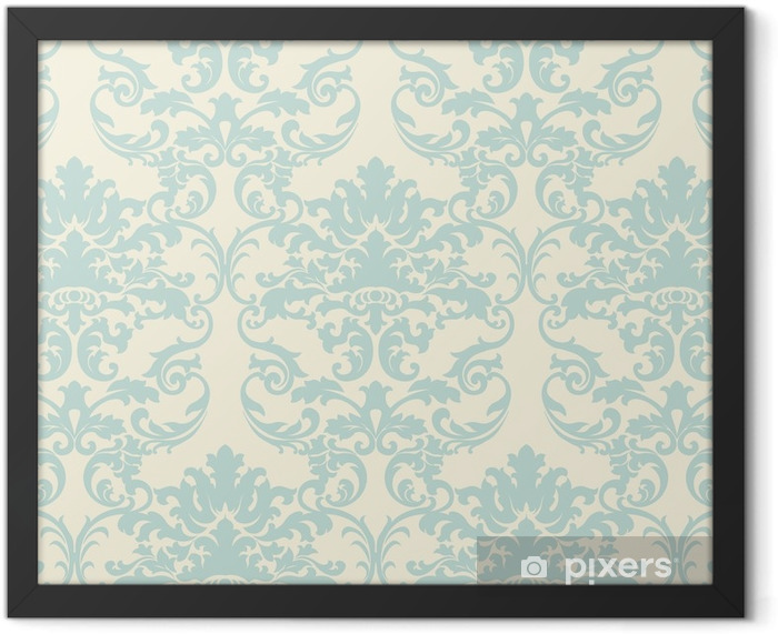Vector floral damask baroque ornament pattern element. Elegant luxury texture for textile, fabrics or wallpapers backgrounds. Light green color Framed Poster - Graphic Resources