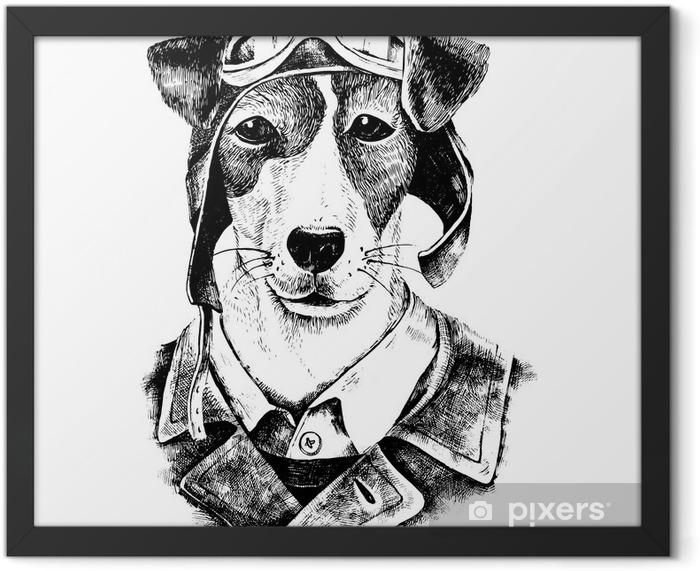 Plakat w ramie Wyciągnąć rękę przebrany pies lotnik - Zwierzęta