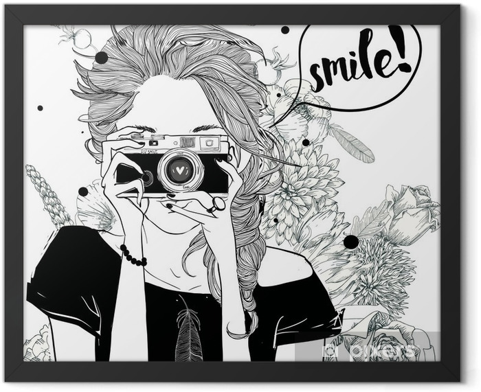 cute cartoon girl Framed Poster - Lifestyle
