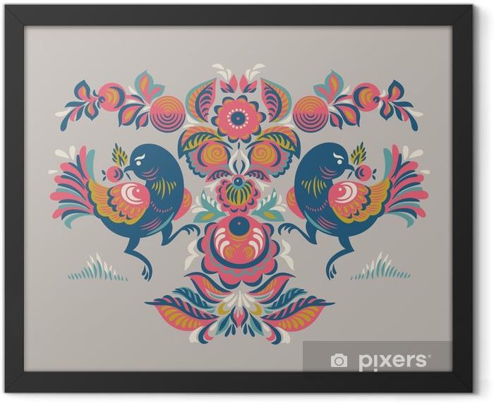 Poster in Cornice Reticolo floreale con due uccelli in stile Gorodets - Piante & Fiori