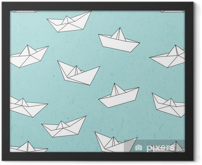 Paper boat pattern Framed Poster - Graphic Resources