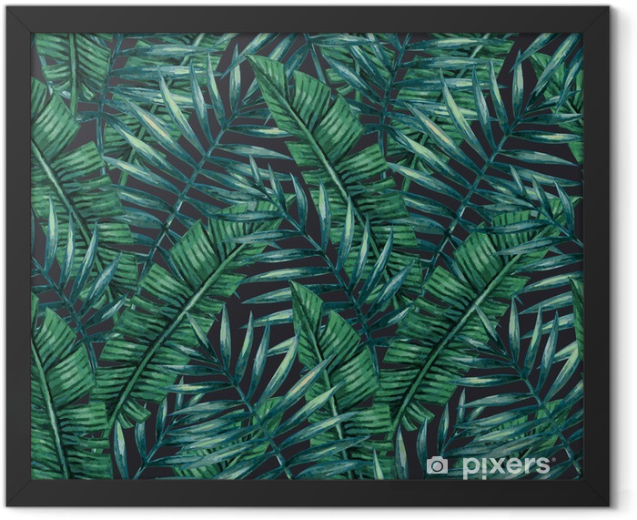 Watercolor tropical palm leaves seamless pattern. Vector illustration. Framed Poster - Graphic Resources