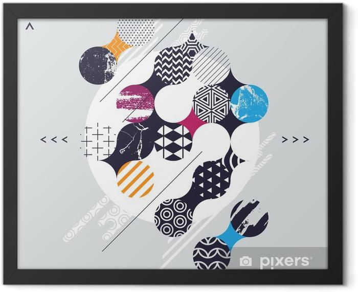 Plakat w ramie Kompozycja abstrakcyjna geometrycznej z kręgów dekoracyjnych - Zasoby graficzne
