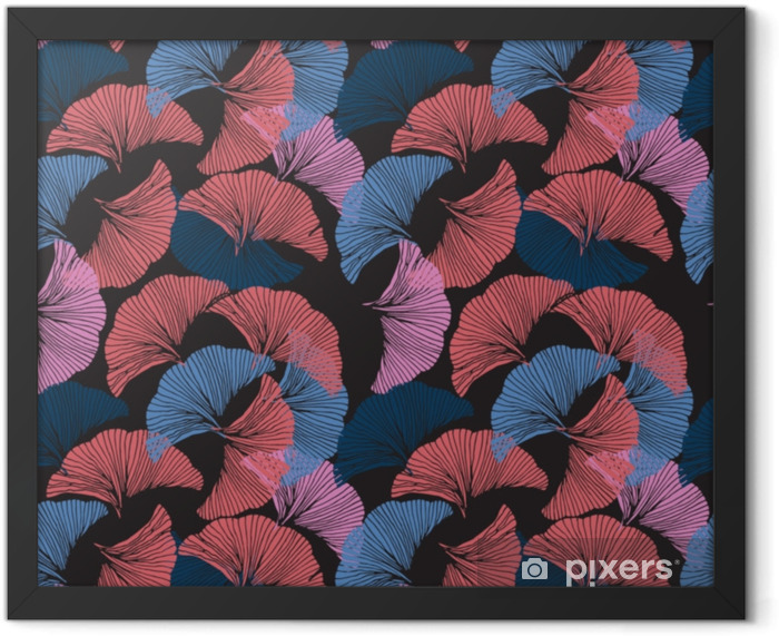 Plakat w ramie Wektor kolorowy wzór. ręcznie rysowane liści ginkgo biloba. - Zasoby graficzne