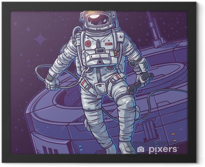 Plakat w ramie Ilustracji wektorowych kosmonauta, - Zasoby graficzne