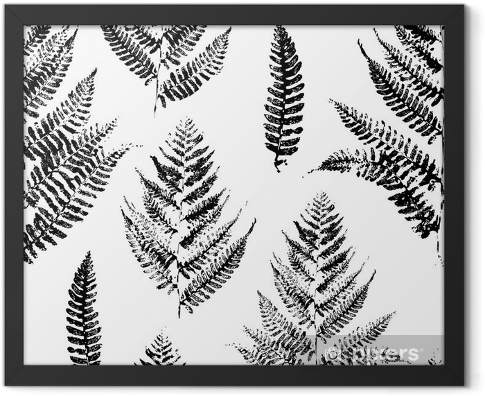 Seamless pattern with paint prints of fern leaves Framed Poster - Industrial