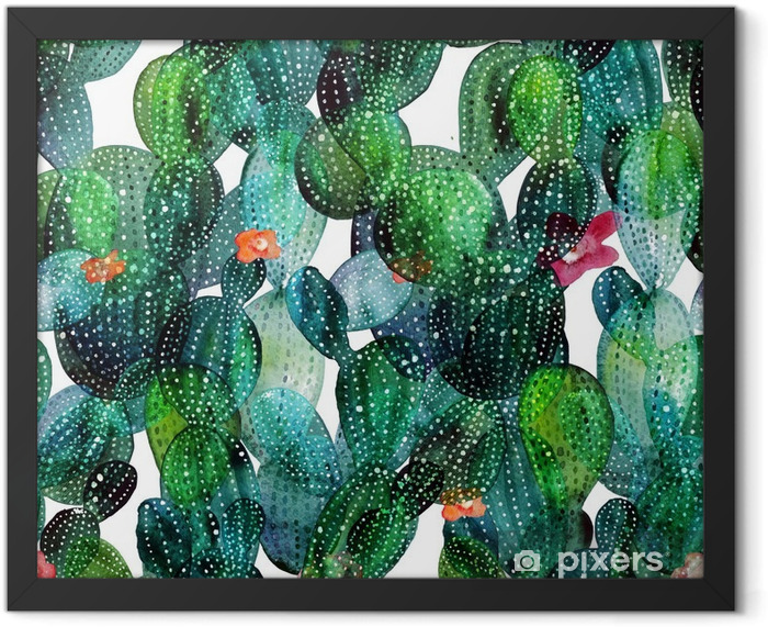 Cactus pattern in watercolor style Framed Poster - Plants and Flowers