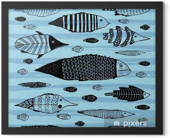 Plakat w ramie Zestaw zabawnych ryb - Zwierzęta