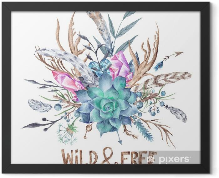 Plakat w ramie Dzikie i Boho bezpłatny Akwarela Ilustracja - Hobby i rozrywka
