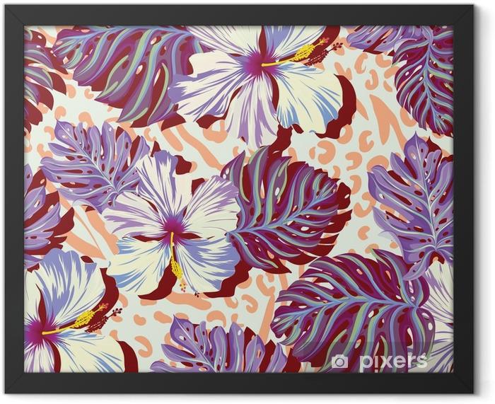Plakat w ramie Bez szwu wektor wzór dla mężczyzn Aloha kwiaty w stonowanych kolorach. - Styl życia