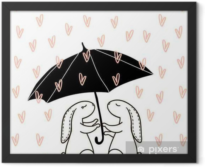 Cute hand drawn Rabbit under love rain. Background for wedding, save the date, Valentine's Day, etc. Vector Illustration Framed Poster - Graphic Resources