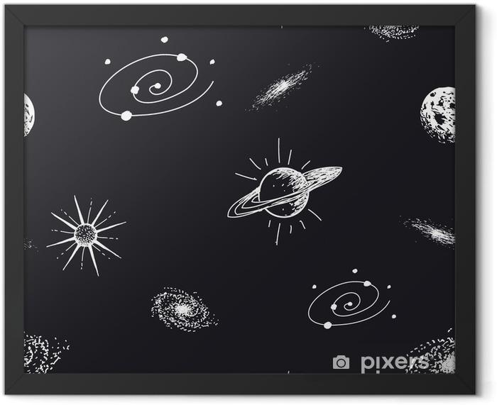 Plakat w ramie Wzór astronomia - Zasoby graficzne