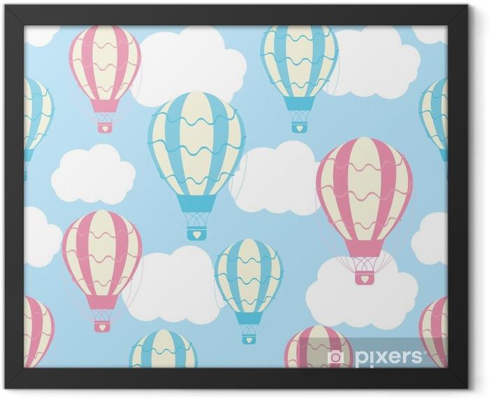 Plakat w ramie Baby shower szwu z cute balonów na gorące powietrze na błękitne niebo nadaje się do tapety baby shower, papier świstek i wzór tkaniny - Transport
