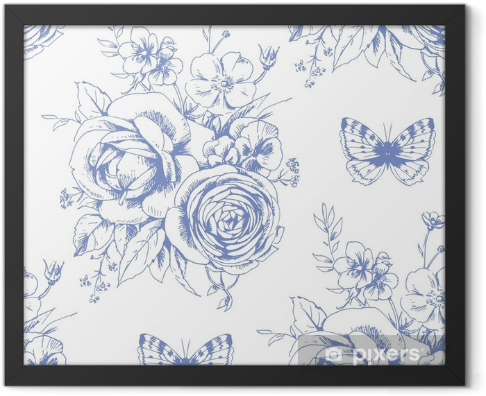 Seamless beautiful pattern with floral motivies and butterflies in French style 1 Framed Poster - Graphic Resources
