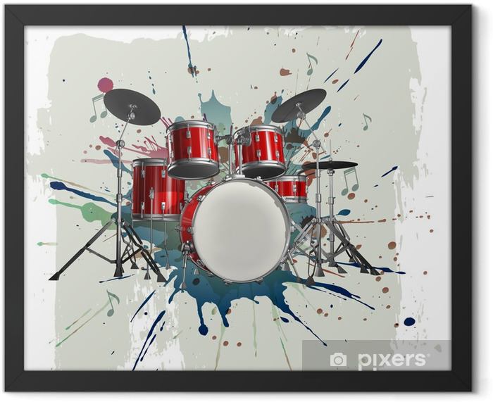 Drum kit on grunge background Framed Poster - Jazz