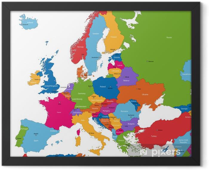 Plakat w ramie Mapa europy z kolorowych krajów i stolic - Tematy