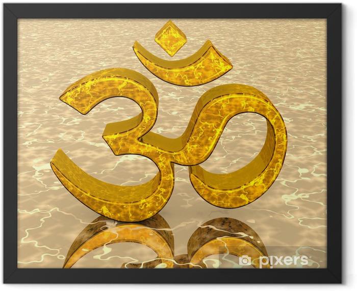 3D - Magic golden OM sign 02 Framed Poster - Religion