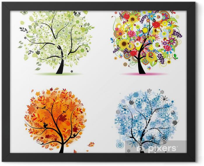Plakat w ramie Cztery pory roku - wiosna, lato, jesień, zima. drzewa sztuki - Naklejki na ścianę