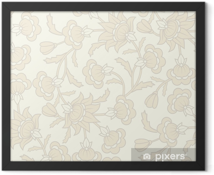 Seamless wallpaper pattern with floral elements. Framed Poster - Backgrounds
