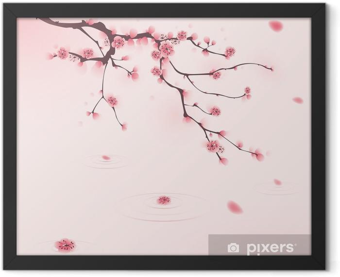 Plakat w ramie Malarstwo styl orientalny, kwiat wiśni wiosną - Style