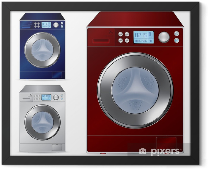 Fully automatic front loading washing machine - vector illustrat Framed Poster - Home and Garden