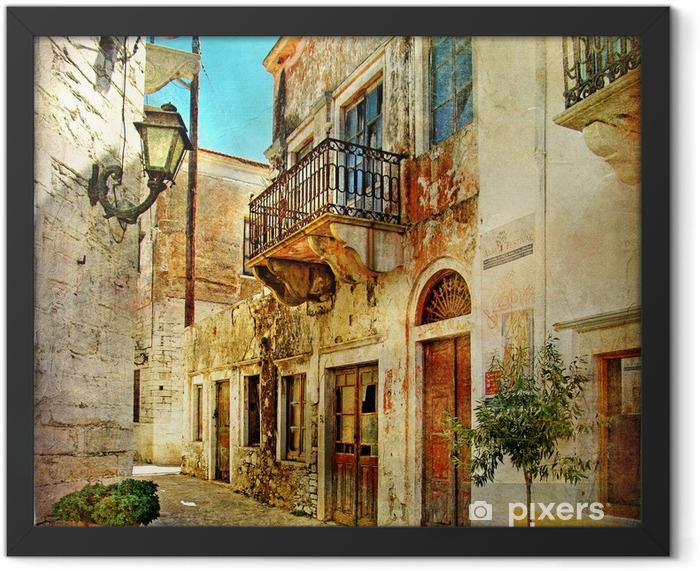 Plakat w ramie Obrazkowych stare uliczki Grecji -