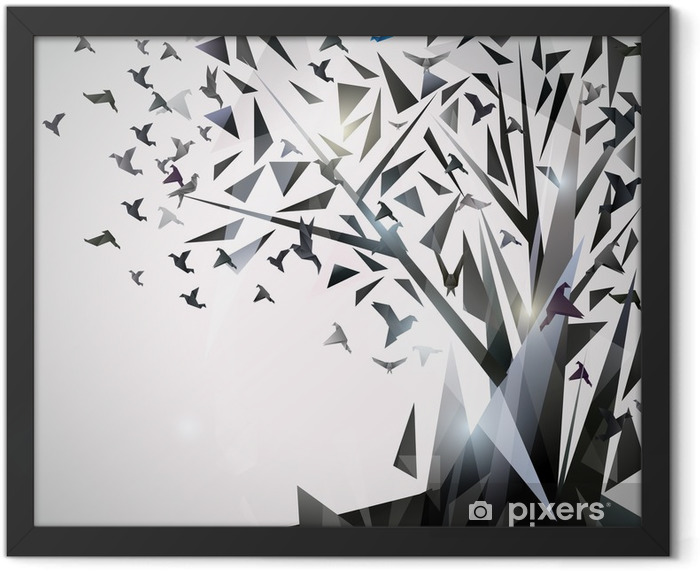 Abstract Tree with origami birds. Framed Poster - Themes