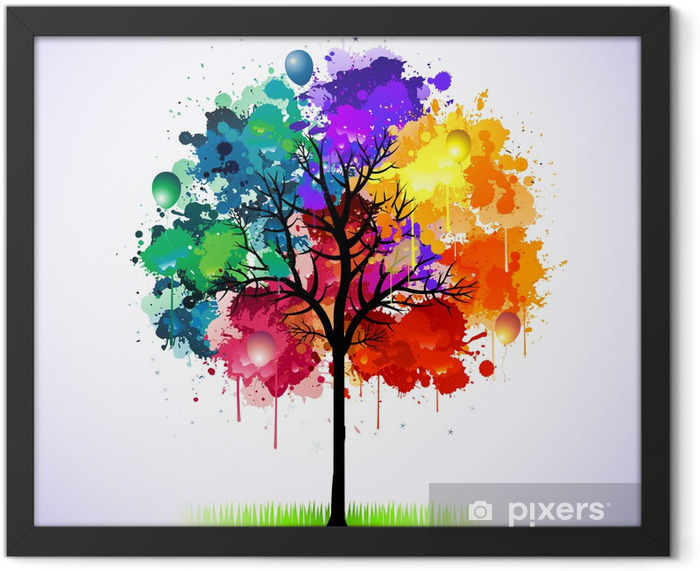 Colorful abstract tree background Framed Poster - Styles