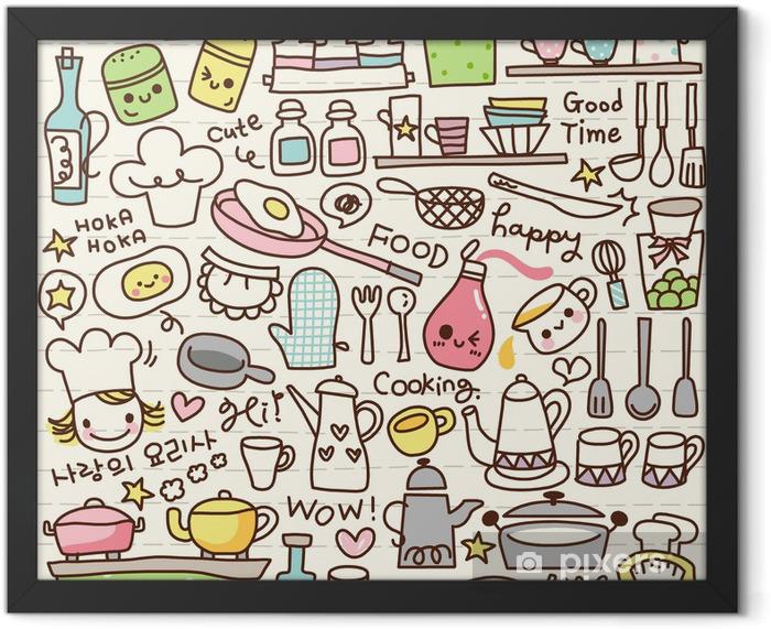 Plakat w ramie Cute doodle rzeczy kuchni -