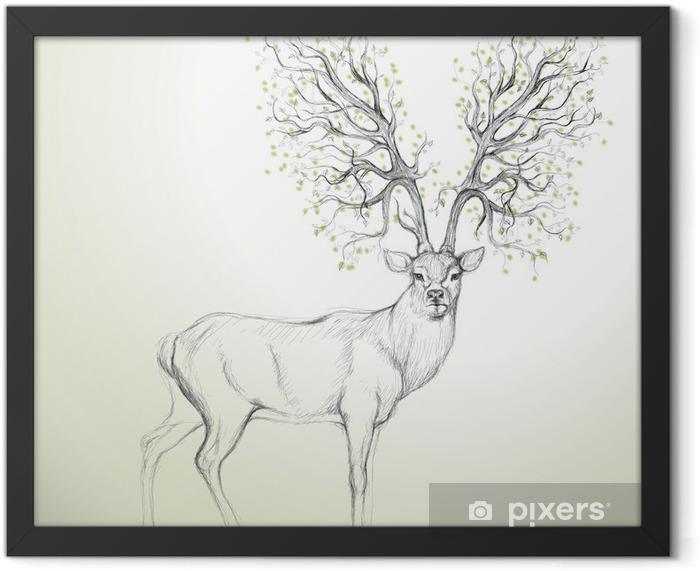 Plakat w ramie Poroża jelenia z drzewa / realistyczny jak szkic - Style