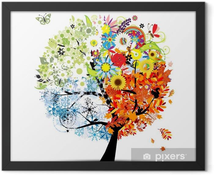 Ingelijste Poster Vier seizoenen - lente, zomer, herfst, winter. Kunst boom - Thema's