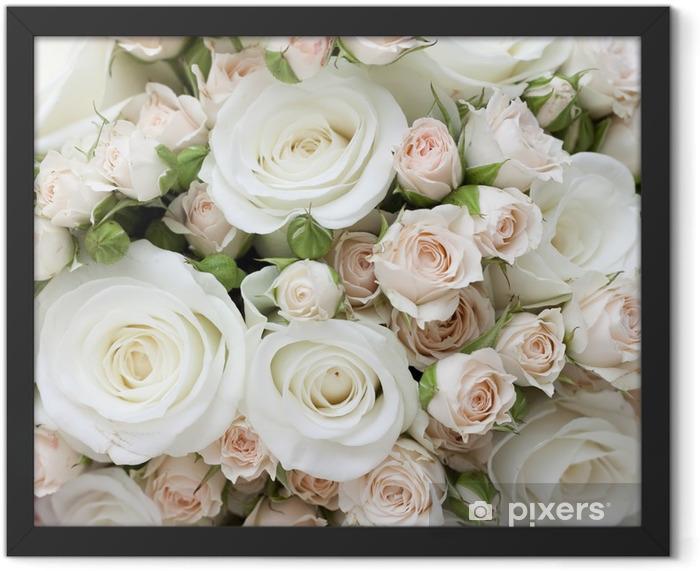 Plakat w ramie Bukiet ślubny z białych róż pinkand - Tematy