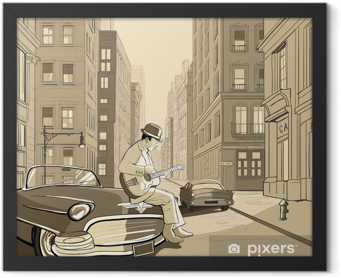 guitarist in an old street of New york Framed Poster - Jazz