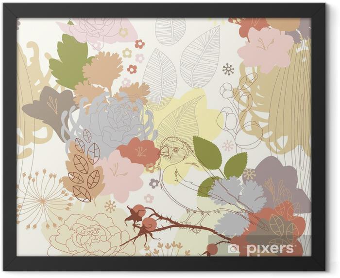 Plakat w ramie Bezszwowe tło z abstrakcyjnym ornamentem botanicznym - Tematy
