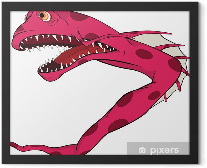 Poster en cadre Pêcher l'anguille. Coral petits poissons. Dessin animé - Sticker mural