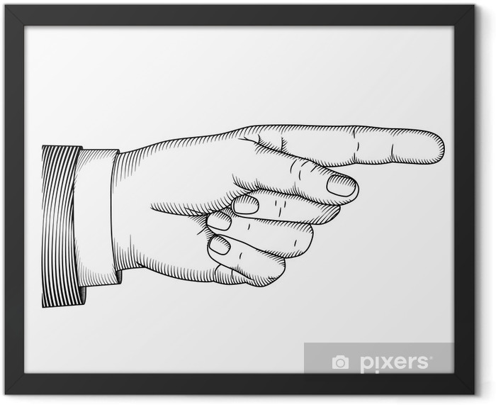 Hand with pointing finger. Vector illustartion in graphic style Framed Poster - Art and Creation