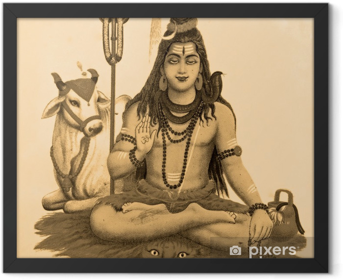 ancient image of Shiva Framed Poster - Asia