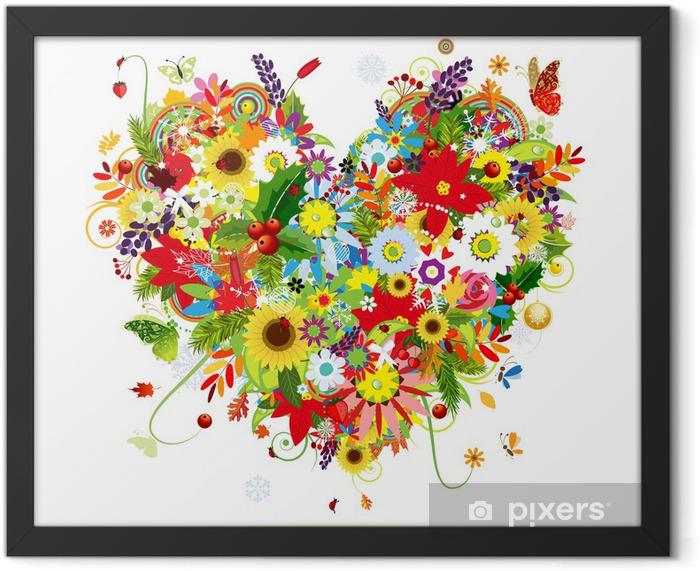 Four seasons. Art heart shape for your design Framed Poster -
