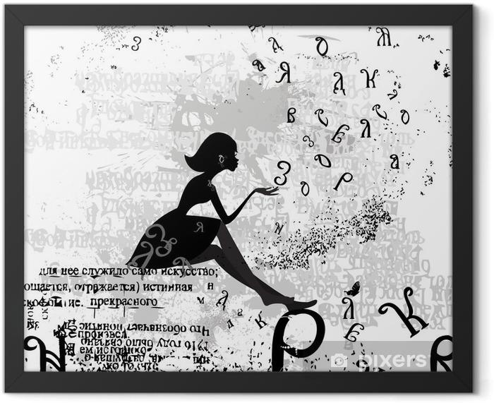 Poster en cadre Conception abstraite avec un texte grunge fille - Mode