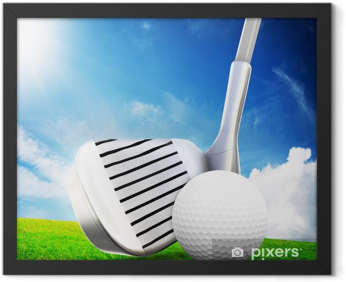 Playing golf. Ball on tee, a golf club Framed Poster - Golf