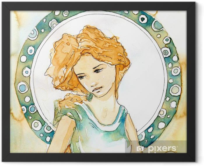 piękna kobieta secesja Framed Poster - Home and Garden