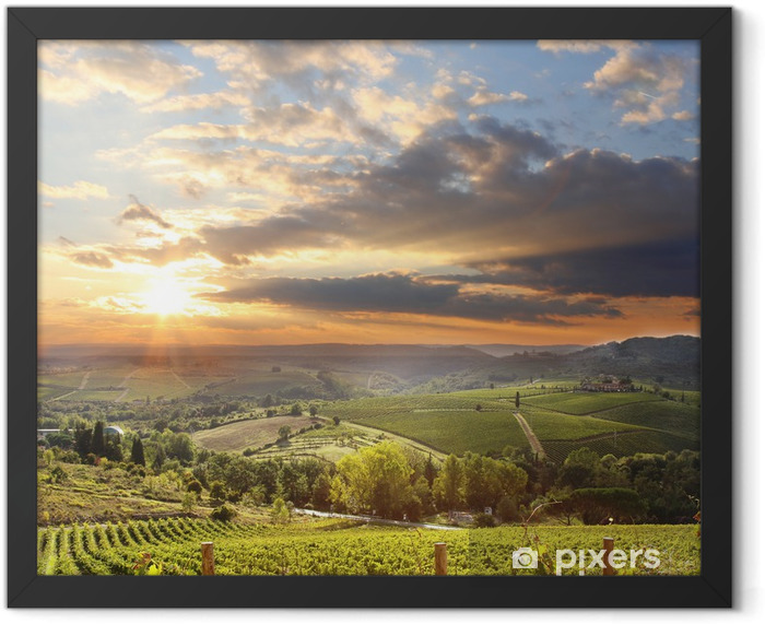 Chianti vineyard landscape in Tuscany, Italy Framed Poster - iStaging