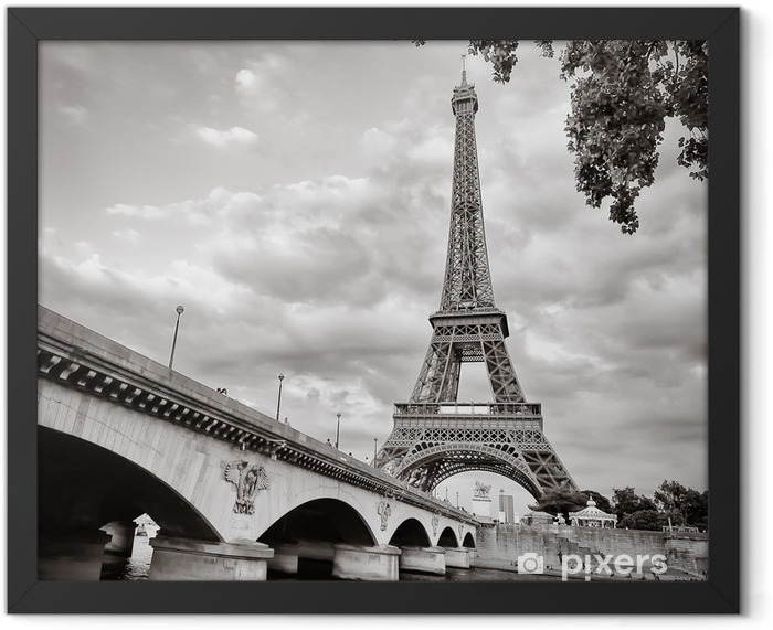 Eiffel tower view from Seine river square format Framed Poster - Themes