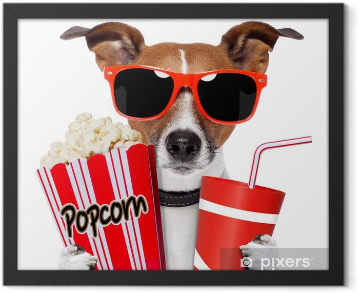 Plakat w ramie Pies oglądania filmu - Naklejki na ścianę