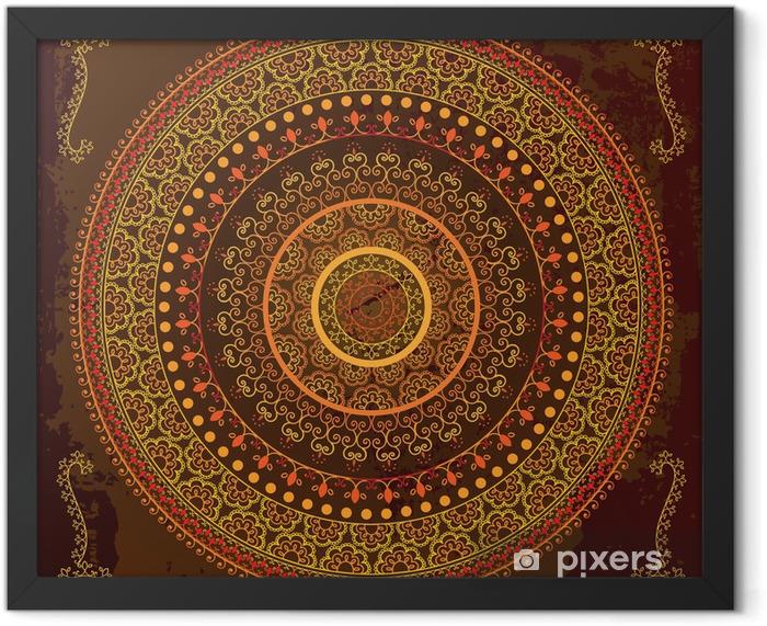 Henna mandala design - Very detailed and easily editable Framed Poster - Backgrounds